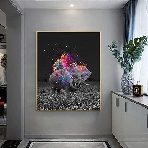 JHGJHK Hada Elefante Arte de la Pared Pintura al óleo Decoración de la Sala de Estar Pintura Decoración sin Marco (Imagen 3)