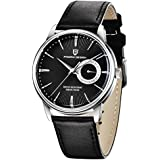 Pagani Design Men's Quartz Watches, Casual Leather Strap, Waterproof Wrist Watches for Men (Black)