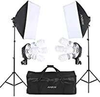 Andoer Photo Studio Lighting Kit with 2pcs Softbox,2pcs 4in1 Bulb Socket,8pcs 45W Bulb,2pcs Light Stand,and Carrying Bag