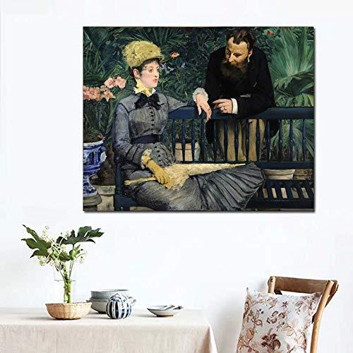 KWzEQ Ölgemälde Wohnzimmer Hauptdekoration Moderne Wandkunst Ölgemälde Poster Bild auf Leinwand im Gewächshaus,Rahmenlose Malerei,40x50cm