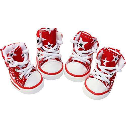 GLE2016 Pet Shoes Puppy Sport Denim Shoes Casual Style Anti-Slip Boots Sneaker Booties 4Pcs (#5, Red)