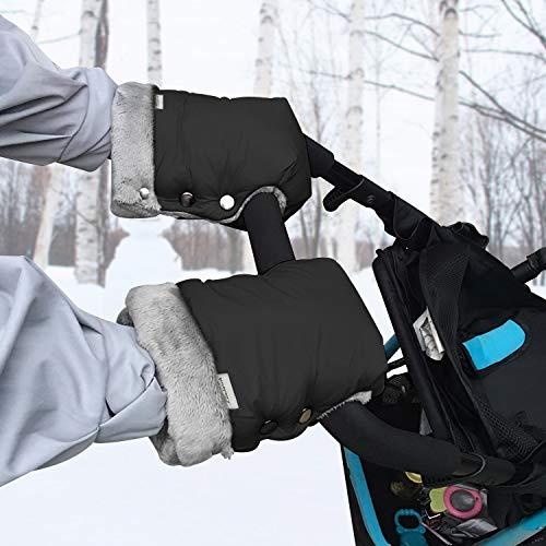Handwärmer Kinderwagen - Warme Kinderwagen Handschuhe mit Fleece Innenseite, Wasserdicht und Winddicht Hand Muff Universalgröße Kinderwagenmuff für Kinderwagen Buggy Radanhänger (Schwarz)