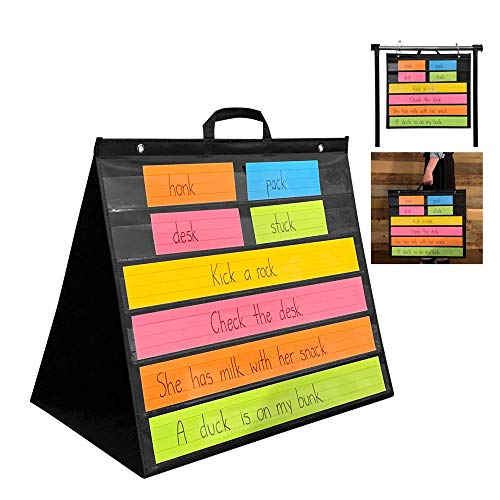PDX Reading Specialist Multipurpose Table Top Pocket Chart   Desk, Wall, Classroom, Office Learning Supplies   Double Sided, Standing or Hanging - Words, Numbers, Colors Flashcard Holder - 22x25
