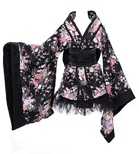Kawaii-Story H de 531–1Japan Kimono Negro Black Flores Cosplay Disfraz Set