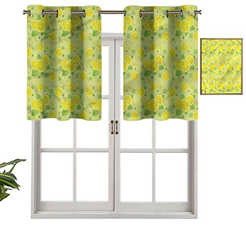 Hiiiman Cortinas pequeñas para ventana, decoración del hogar, pila de rodajas de limón cítricos, juego de 2, 42 x 24 pulgadas para cocina, comedor, habitación de niñas, filtro de luz