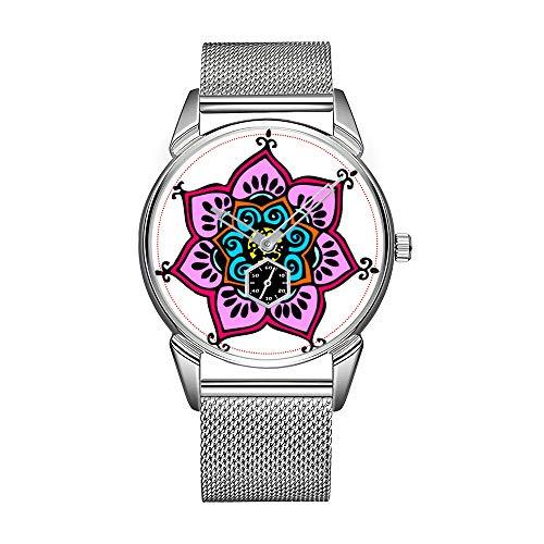 Reloj de pulsera para hombre de acero inoxidable, resistente al agua, de la marca de Lotus Mandala Glitter