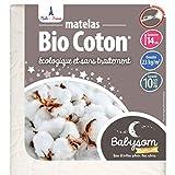 Babysom - Matelas Bébé Bio Coton - 70x140 cm | 100% Coton Bio : Fibres Naturelles | Épaisseur 14 cm | Déhoussable | Certifié GOTS® et Oeko-Tex® | Fabrication Française