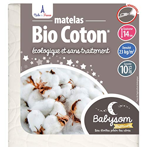 Babysom – Materasso per neonato Bio in cotone, 70 x 140 cm, 100% cotone bio: fibre naturali, spessore 14 cm, sfoderabile, certificato GOTS e Oeko-Tex, fabbricazione francese