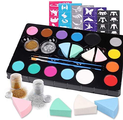 Hoiny Kinderschminke Set Face Paint Set,14- Professionelle Schminkfarben,Ungiftig,Makeup für Halloween, Weihnachten, Geburtstagsfeier, Karneval oder Körpermalerei.