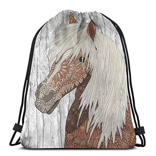 Haflinger Paard Trekkoord Rugzak Tas Trekkoord Tas Sling Bag Sporttas, Geschikt voor School Gym Trip