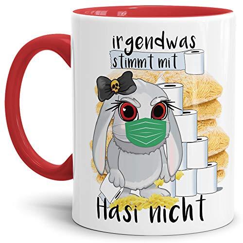 Tassendruck Anti-Hamster-Tasse mit Spruch Böses Hasi - Hamsterkäufe - Klopapier/Nudeln/Kaffee-Tasse/Corona-Virus 2020 / Geschenk Ostern - Innen & Henkel Rot