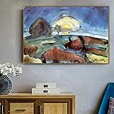 PLjVU El Famoso Maestro Pintor Yin SUO (Moon Stairs) Pintura Lienzo para decoración de Habitaciones Arte de Pared-Sin marco30x45cm