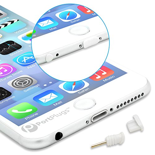 PortPlugs Dust Plugs (5 Sets) - Compatible iPhone 5, SE, 6, 6s, 6s - Headphone Jack Plugs with SIM Tool - Protect Your Cell Phone from Dust (White)