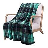 SOCHOW Manta de franela a cuadros, manta de forro polar para todas las estaciones, para cama, sofá, coche