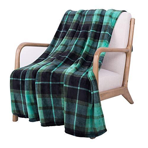 SOCHOW Flanell Fleecedecke 150 × 200 cm, ganzjährig Grün Karierte Decke für Bett, Couch, Auto