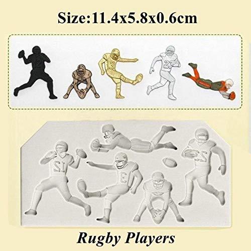 Sport Baseball Golf Fußball-Fußball-Fondant-Kuchenform Schokoladenform-Werkzeug für die Küche Backen Zucker Dekoration,Rugby Spieler