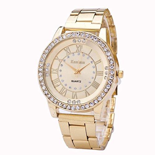 FAMILIZO Mujeres Hombres Elegante Moda De Cristal Rhinestone De Acero Inoxidable Reloj De Cuarzo Analógico De Cuarzo (Oro)