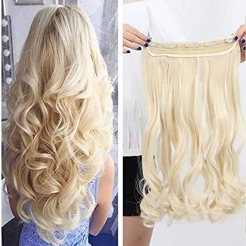 BESTUNG 1 pezzo ondulato lungo 45,7 cm con 5 clip in extension di capelli sintetici spessi 3/4 testa intera (biondo 613#)