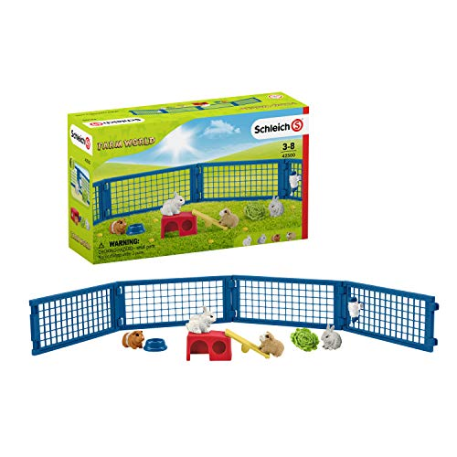 Schleich Farm World 14-piece Rabbit and Guinea Pig Hutch Toy Set with Animal Figures for Kids Ages 3-8