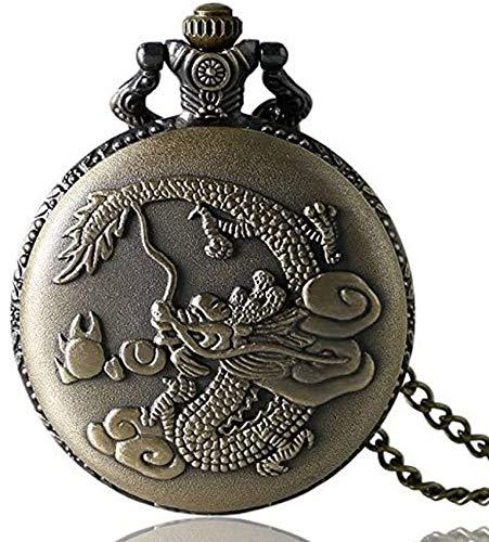 WEHOLY Montre de Poche à Quartz de Conception de Dragon Chinois rétro en Bronze avec chaîne de Collier