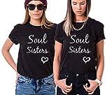 Photo de Best Friend T-Shirt Soul Sisters Shirt pour Deux Femme Tees Shirts 2 Pièces Coton Manches Courtes Femme Été(Noir,Soul Sisters-S+M)