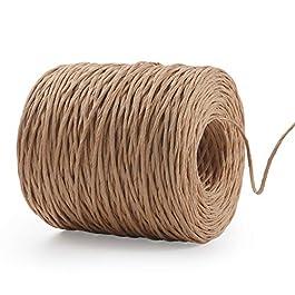 Herefun 200M Fil de Papier, Fil Fer Naturel Cordon en Papier, Fer Rotin de Papier Fil Naturel Paper Corde en Macramé…