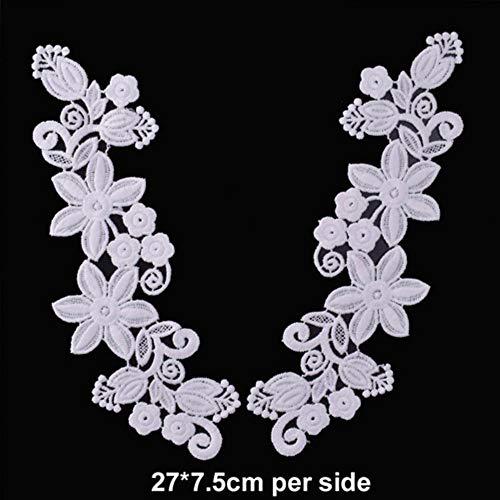 Wit zwart kant stof bloemen motief applicaties borduurwerk naai patch jurk blouse kleding ornament, 29