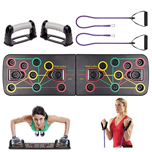 Risefit Push Up Board 13 in 1 Body Building Rack Home Gym Equipment Fitness Comprehensive Exercise Workout Board Gym Training Muscle Board with Resistance Band