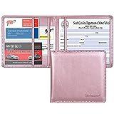 Wisdompro - Porte-documents d'assurance et d'enregistrement voiture - Cuir PU - Organiseur de documents pour carte d'identité, permis de conduire, cartes d'informations de contact - Or rose