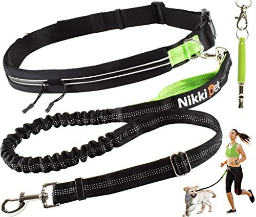 Nikkipet Joggingleine, Joggingleine Hunde, Jogging Hundeleine für große und mittelgroße Hunde, Laufleine für Hunde, Jogginggurt Hundeleine, Hundeleine Joggen reflektierend mit Ultraschall Pfeife