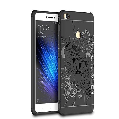 SMTR Xiaomi Mi Max 2 Funda Silicona, Xiaomi Mi Max 2 Funda Gel Suave TPU Case - Carcasa Resistente a los Arañazos para Xiaomi Mi Max 2 -dragón Negro