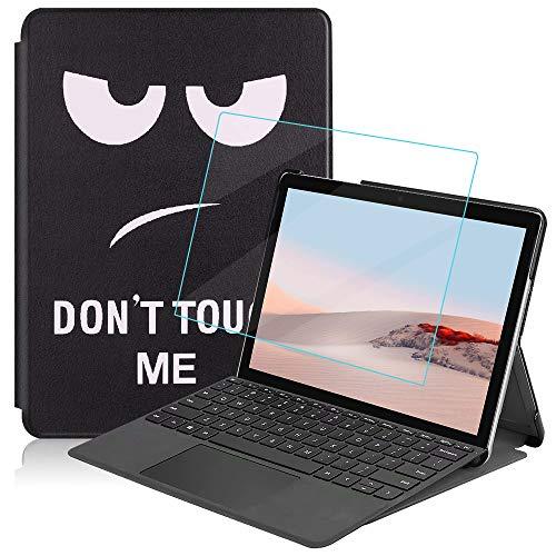 MI-KOU Custodia per Microsoft Surface Go 2 2020/Go 2018, Cover Protettiva Ultra Sottile PU di alta qualità con Funzione di Supporto,Occhio di fuliggine + 1x pellicola protettiva in vetro temperato