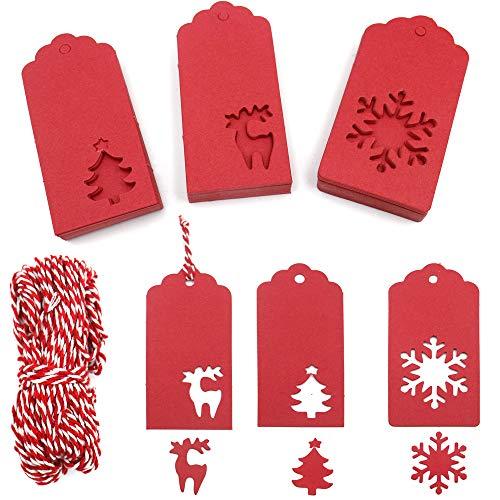 Etiquetas de Navidad de 150 PCS, Etiquetas de regalo de Navidad rojas de 9.5 * 4.5 CM con cadena roja y blanca de 30 M (copo de nieve y árboles y ciervos)
