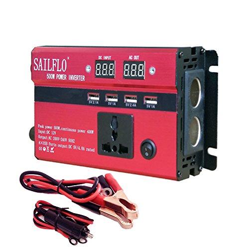 Inverter di potenza 500 W Car Power inverter converter DC 12 V to AC 220 V,Auto/Batteria/Solare, Convertitore di potenza con 1 prese CA e 4 porte USB e 2 uscite per accendisigari