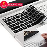 [2 Pack] Keyboard Cover Skin for 15.6 HP Pavilion X360 15-BR075NR 15M-BP012DX BP011DX BP111DX BP112DX 15M-BQ021DX BQ121DX, 15-BS020NR 15-BS020WM 15-BS013DX 15-BW011DX, HP Envy 17M (Clear+ Black)