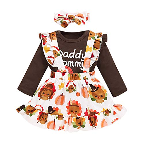 Infant Toddler Baby Girl Merry Christmas Princess Dress Clothes Set Long Sleeve Ruffle Reindeer Print T Shirt Tops Ruffle Bow Pleated Skirt Bowknot Heandband Xmas Outfit Set 3 Pieces for Cute Girl