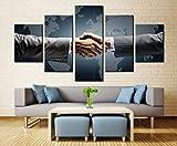 Impresiones sobre Lienzo Mano A Mano 5 Cuadros En Lienzo Modernos Salón Decoracion Murales Pared Lona XXL Grande Hogar Dormitorios Arte Pared HD Impresión Foto