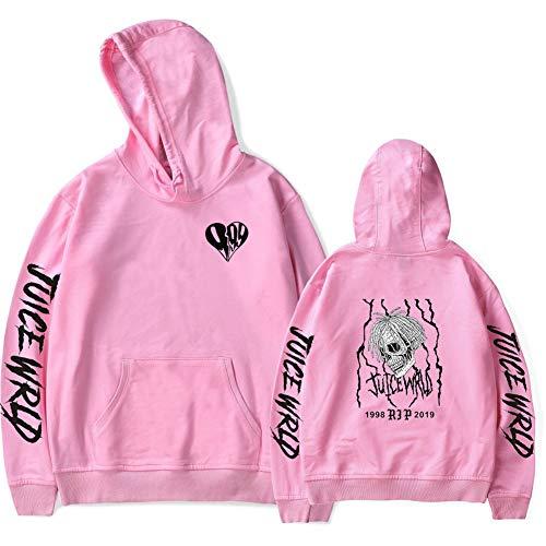 Sudadera con Capucha Juice Wrld Sweatshirt en Mezcla de Algodón Hip Hop para Mujer Hombre y Niña Niña XXS-4XL (Rosado, M)