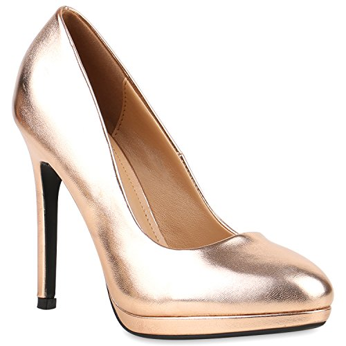 Damen Lack Pumps Stiletto High Heels Metallic Party Abend Plateau Plateau Pumps Schuhe 121247 Bronze 40 Flandell
