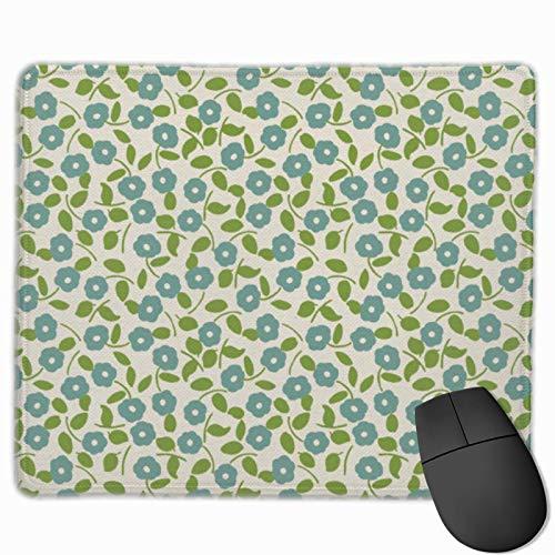 Alfombrilla de ratón con Estampado de calicó, Estampado Floral, Azul, Verde, Crema, Rectangular, Alfombrilla de ratón para Juegos, Alfombrilla de ratón para Oficina y hogar