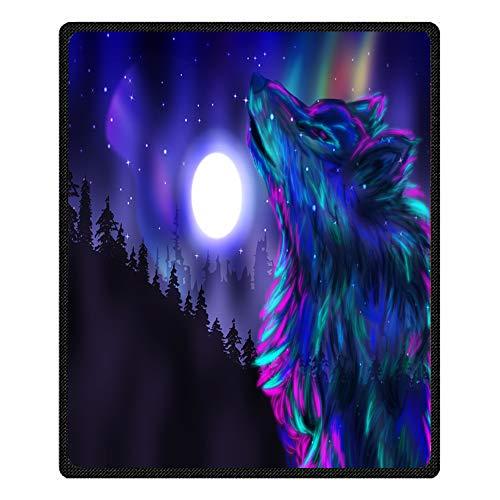 Stillshine Couvertures et Plaids Moelleux Doux 3D Galaxy Wolf Plush Couverture de Lit Couverture Television pour Adulte Enfant Canapé Ou Lit (Loup coloré, 80 x 130 cm)