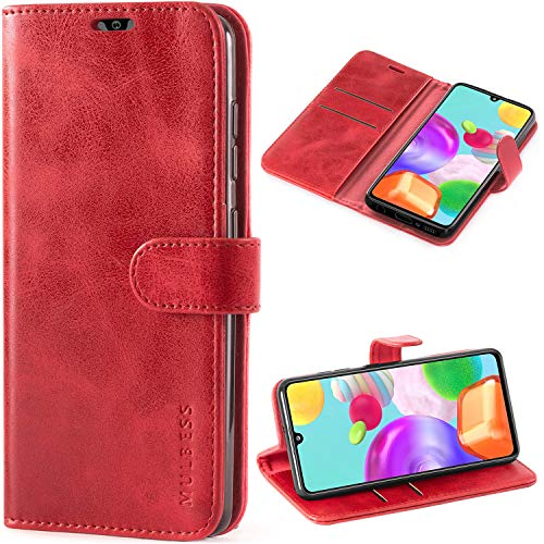 Mulbess Handyhülle für Samsung Galaxy A41 Hülle Leder, Samsung Galaxy A41 Handy Hüllen, Vintage Flip Handytasche Schutzhülle für Samsung Galaxy A41 Case, Wein Rot