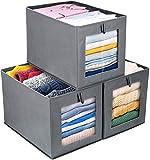 DIMJ Cajas de almacenaje Plegable, Conjunto de 3 Cajas Organizadoras Tela, Cubos de Almacenamiento...