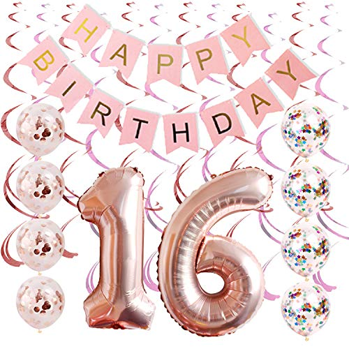 Rose gold Sweet 16 party supplies By Tats4now | 16th birthday party supplies | Includes Birthday Banner, sweet 16 confetti Balloons, and Hanging Swirls | sweet sixteen decorations