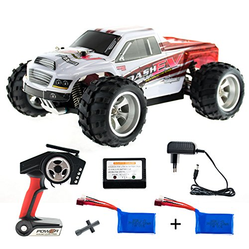 efaso WL Toys A979-B + Zusatzakku - schneller RC Monstertruck 70 km/h schnell, wendig, voll digital proportional - 2.4 GHz RC Auto mit Allradantrieb - Maßstab 1:18, hoher Fun Faktor