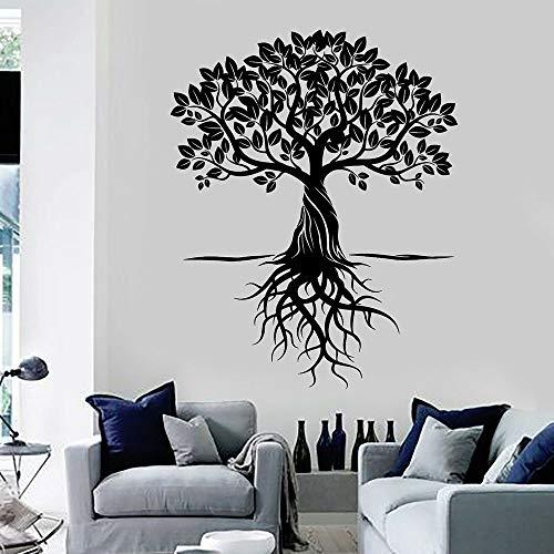 WERWN Calcomanía de Pared Hoja de raíz de árbol hogar Art Deco Dormitorio Yoga meditación habitación Puerta Ventana Vinilo Adhesivo Papel Tapiz