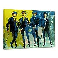 複製プリントアート現代抽象古典的な有名な油絵カラフルな複製Canva画像壁アートオフィスホテルの廊下の装飾/フレームレス,Gentleman,45×60cm