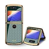 MingMing Hülle für Motorola Razr 5G Hardcase Stoßfest Schutzhülle PC + 9H Gehärtete Glasabdeckung, Superdünne handyhülle für Motorola Razr 5G, Geflochtenes Grün