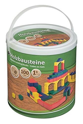 Idena 40030 - Set di 100 mattoncini in Legno in Diversi Colori e Forme, a Partire da 12 Mesi, in Secchiello