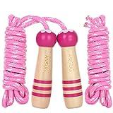 ANSUGCuerda de Saltar con Mango de Madera para niños, reemplazar Cuerda de algodón - 260 cm / 8.6 pies